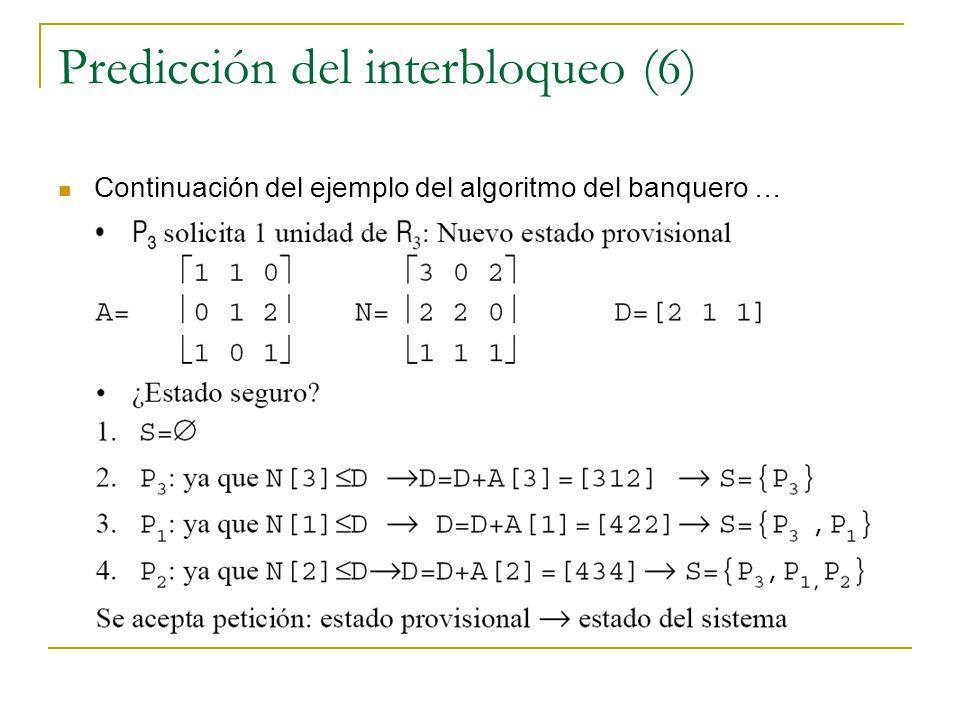 Predicción del interbloqueo (6) Continuación del ejemplo del algoritmo del banquero …