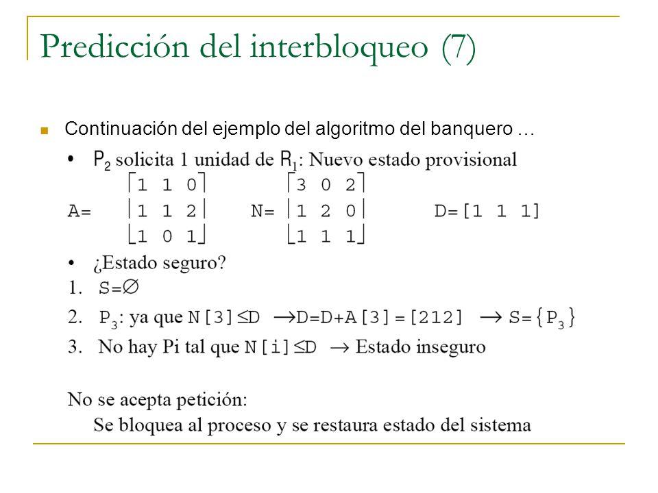Predicción del interbloqueo (7) Continuación del ejemplo del algoritmo del banquero …