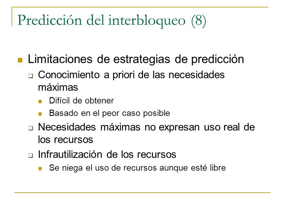 Predicción del interbloqueo (8) Limitaciones de estrategias de predicción Conocimiento a priori de las necesidades máximas Difícil de obtener Basado e