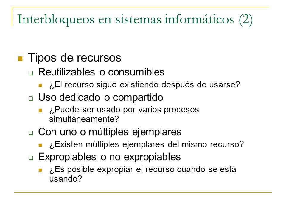 Interbloqueos en sistemas informáticos (2) Tipos de recursos Reutilizables o consumibles ¿El recurso sigue existiendo después de usarse? Uso dedicado