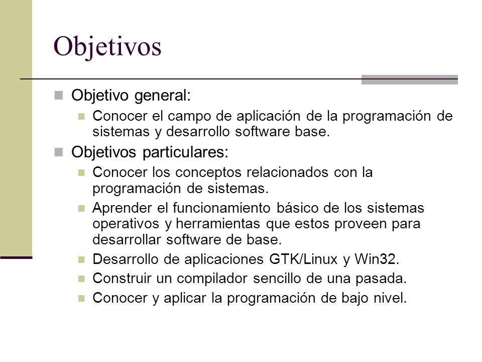 Objetivos Objetivo general: Conocer el campo de aplicación de la programación de sistemas y desarrollo software base. Objetivos particulares: Conocer