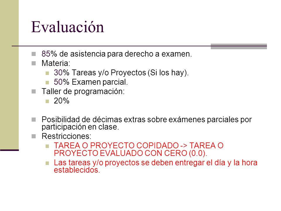 Evaluación 85% de asistencia para derecho a examen. Materia: 30% Tareas y/o Proyectos (Si los hay). 50% Examen parcial. Taller de programación: 20% Po