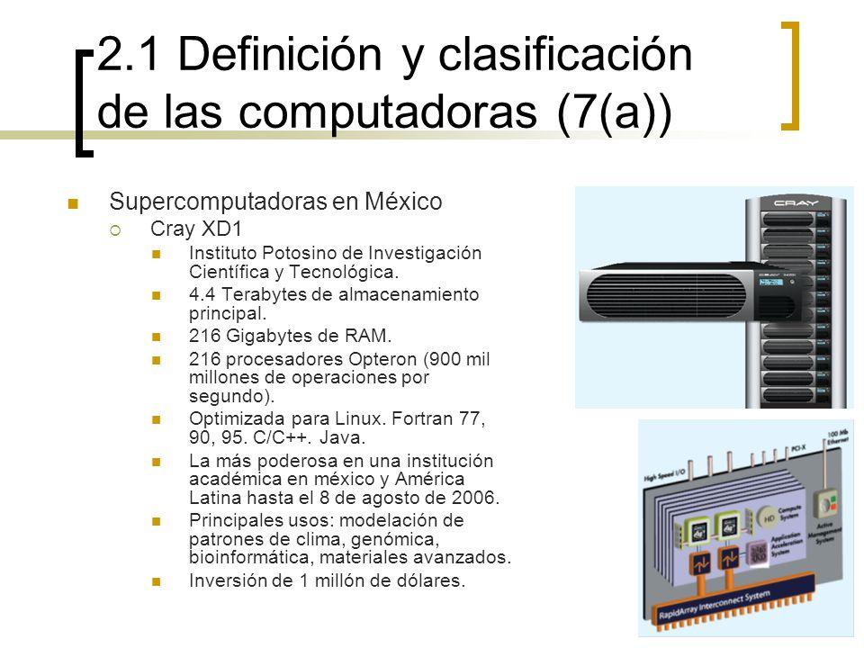 2.1 Definición y clasificación de las computadoras (7(a)) Supercomputadoras en México Cray XD1 Instituto Potosino de Investigación Científica y Tecnol