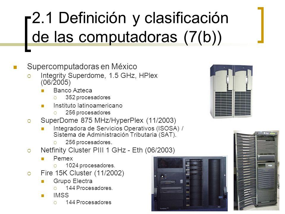 2.1 Definición y clasificación de las computadoras (7(b)) Supercomputadoras en México Integrity Superdome, 1.5 GHz, HPlex (06/2005) Banco Azteca 352 p