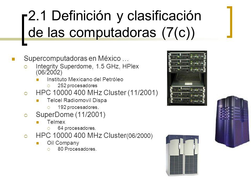 2.1 Definición y clasificación de las computadoras (7(c)) Supercomputadoras en México … Integrity Superdome, 1.5 GHz, HPlex (06/2002) Instituto Mexica