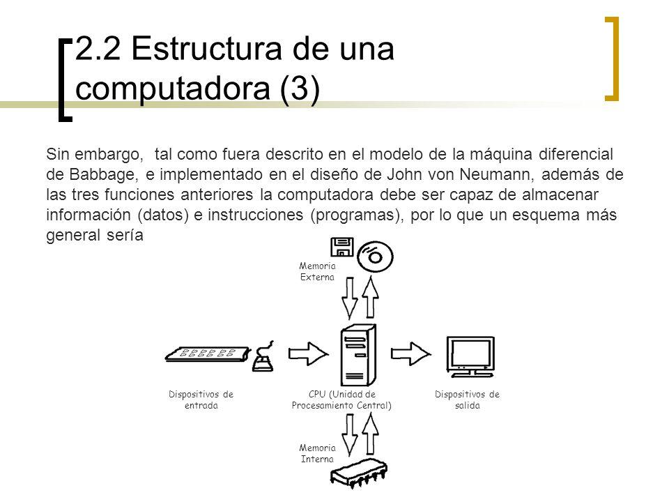 2.2 Estructura de una computadora (3) Sin embargo, tal como fuera descrito en el modelo de la máquina diferencial de Babbage, e implementado en el dis