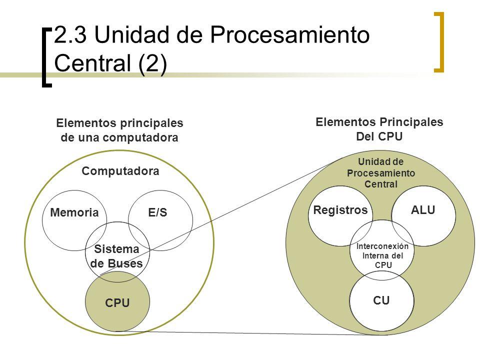 2.3 Unidad de Procesamiento Central (2) Elementos principales de una computadora Computadora MemoriaE/S Sistema de Buses CPU RegistrosALU Interconexió