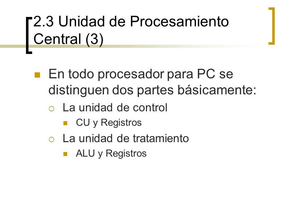 2.3 Unidad de Procesamiento Central (3) En todo procesador para PC se distinguen dos partes básicamente: La unidad de control CU y Registros La unidad