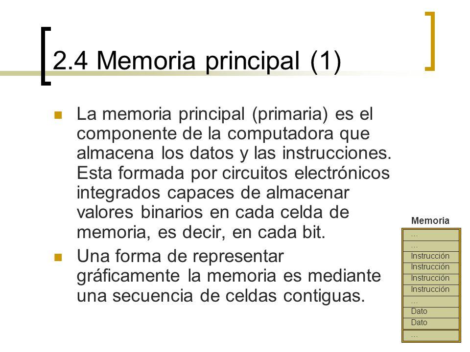 2.4 Memoria principal (1) La memoria principal (primaria) es el componente de la computadora que almacena los datos y las instrucciones. Esta formada