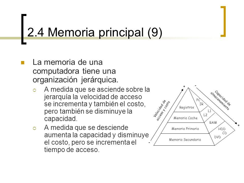 2.4 Memoria principal (9) La memoria de una computadora tiene una organización jerárquica. A medida que se asciende sobre la jerarquía la velocidad de