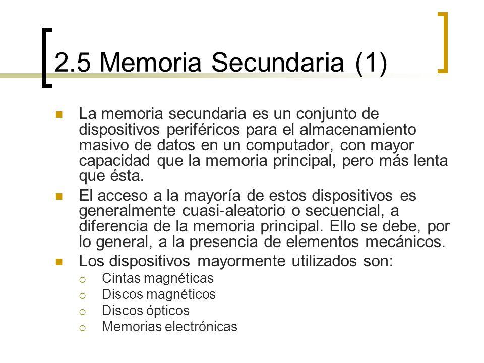 2.5 Memoria Secundaria (1) La memoria secundaria es un conjunto de dispositivos periféricos para el almacenamiento masivo de datos en un computador, c