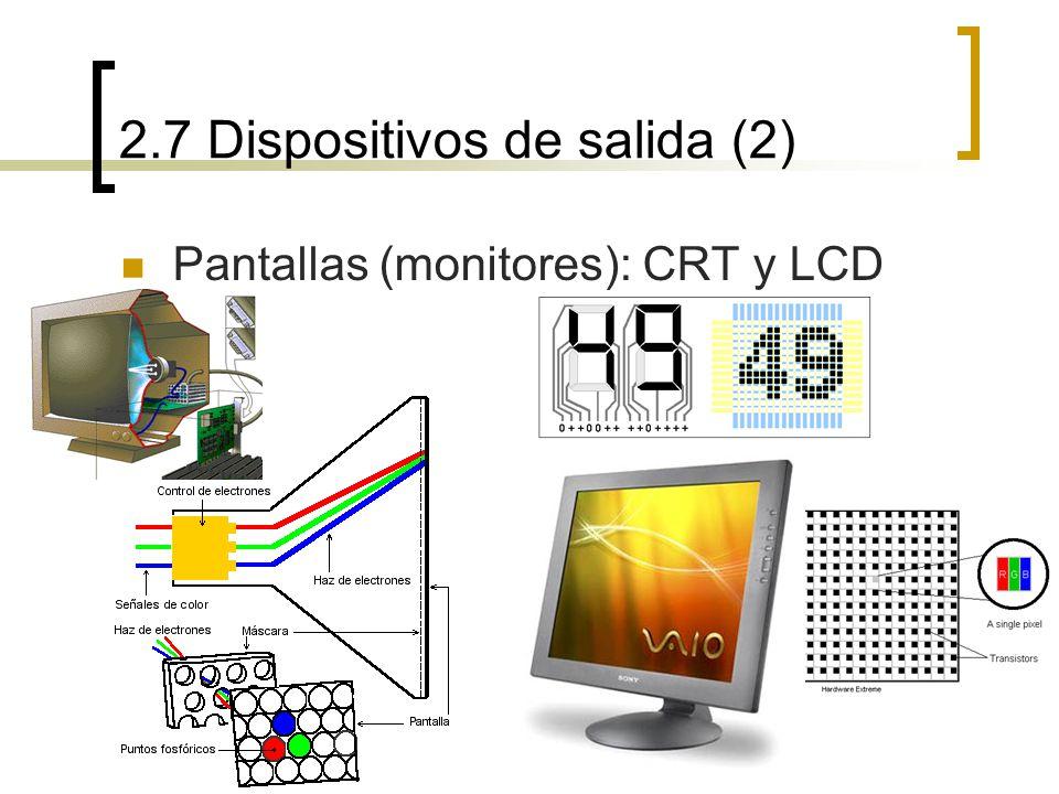 2.7 Dispositivos de salida (2) Pantallas (monitores): CRT y LCD