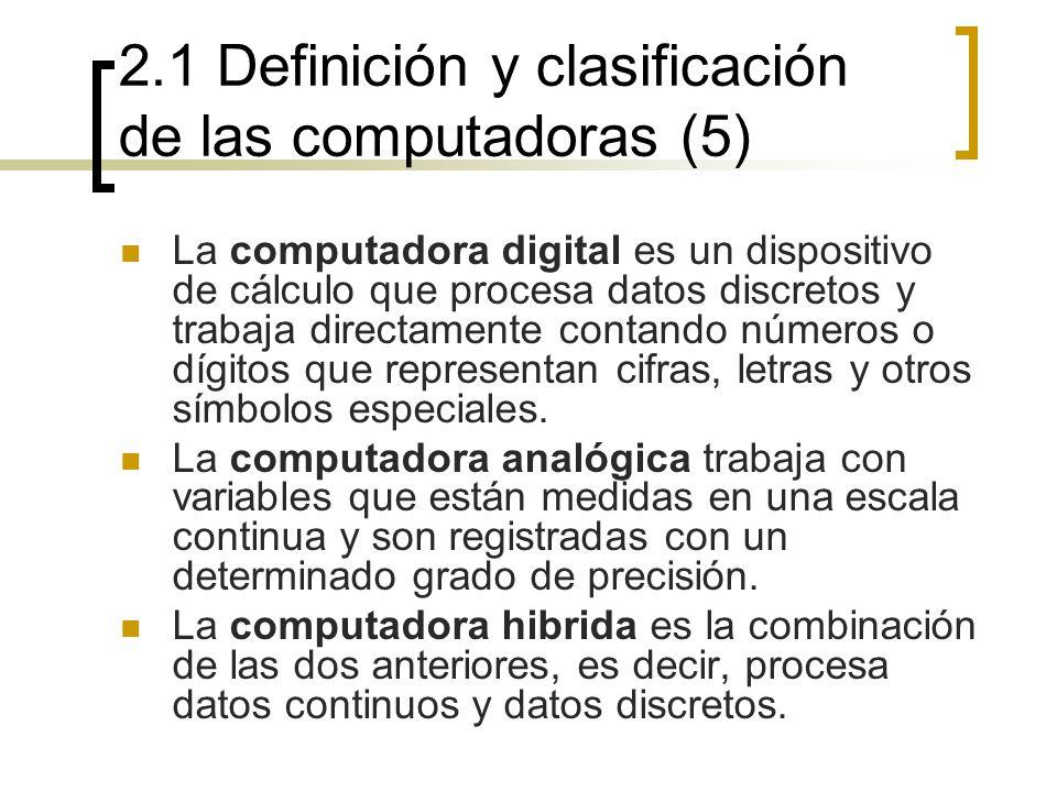 2.1 Definición y clasificación de las computadoras (5) La computadora digital es un dispositivo de cálculo que procesa datos discretos y trabaja direc