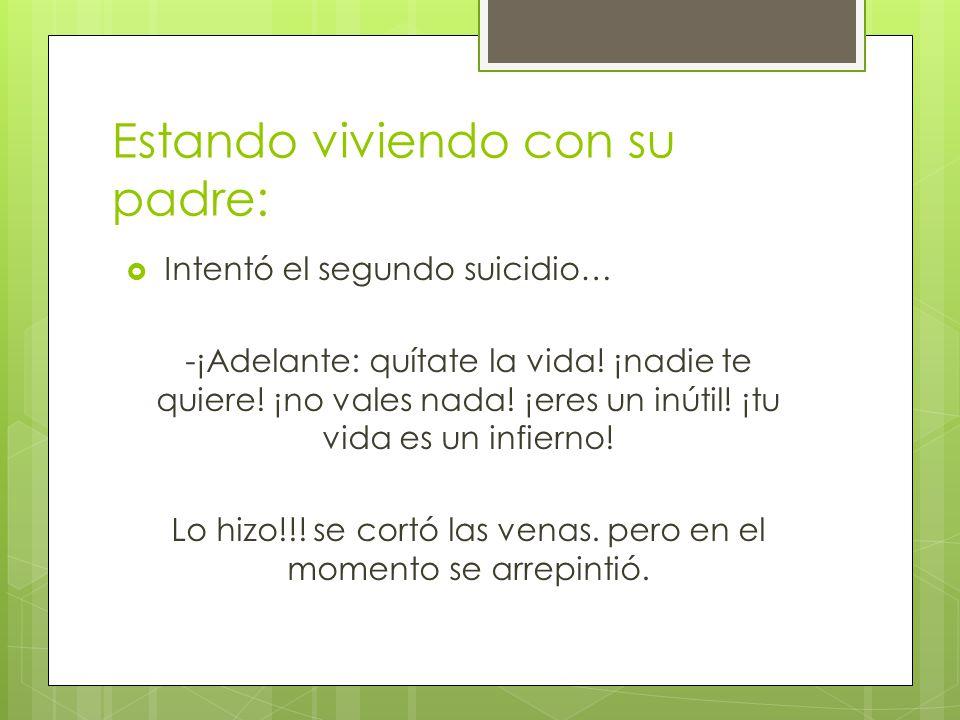 Estando viviendo con su padre: Intentó el segundo suicidio… -¡Adelante: quítate la vida.