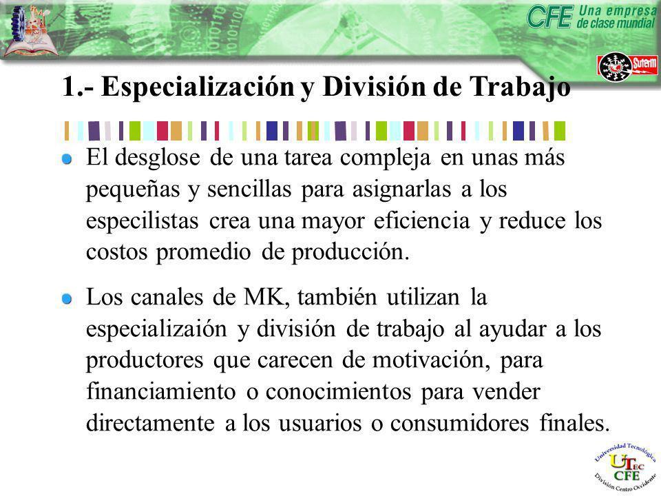 1.- Especialización y División de Trabajo El desglose de una tarea compleja en unas más pequeñas y sencillas para asignarlas a los especilistas crea una mayor eficiencia y reduce los costos promedio de producción.