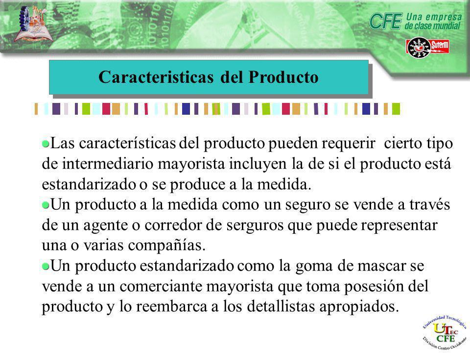 Caracteristicas del Producto Las características del producto pueden requerir cierto tipo de intermediario mayorista incluyen la de si el producto está estandarizado o se produce a la medida.