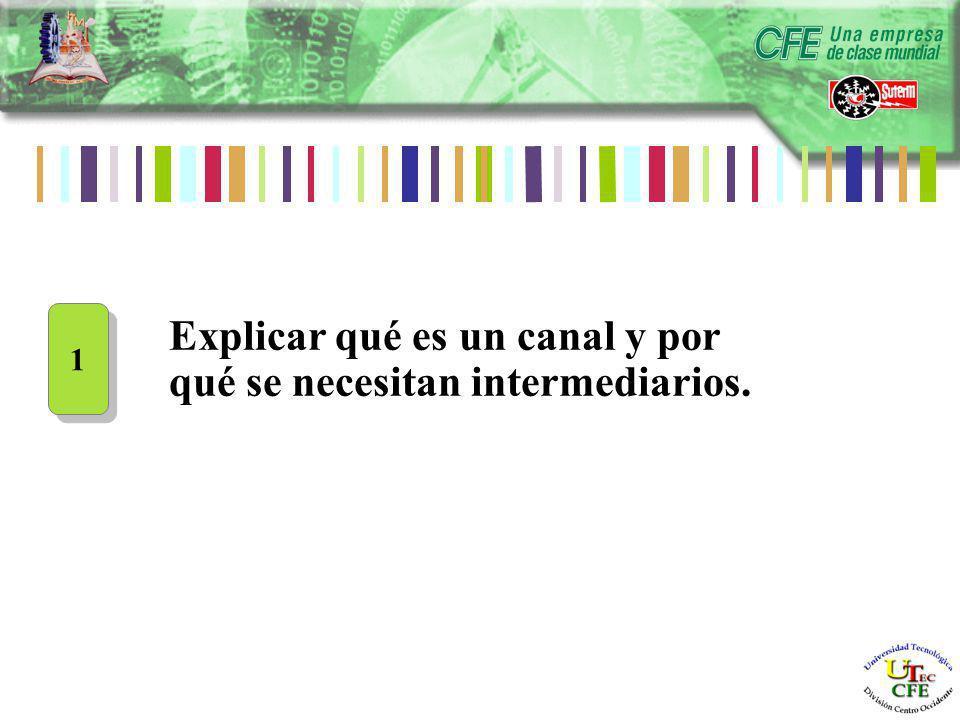 Explicar qué es un canal y por qué se necesitan intermediarios. 1 1