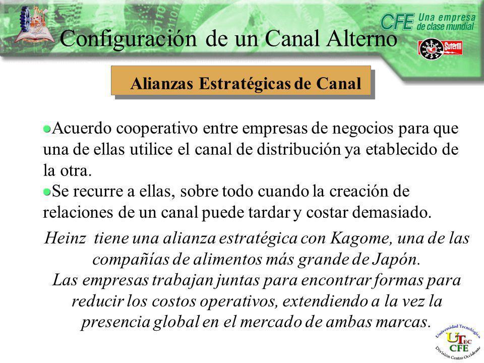 Configuración de un Canal Alterno Alianzas Estratégicas de Canal Acuerdo cooperativo entre empresas de negocios para que una de ellas utilice el canal de distribución ya etablecido de la otra.