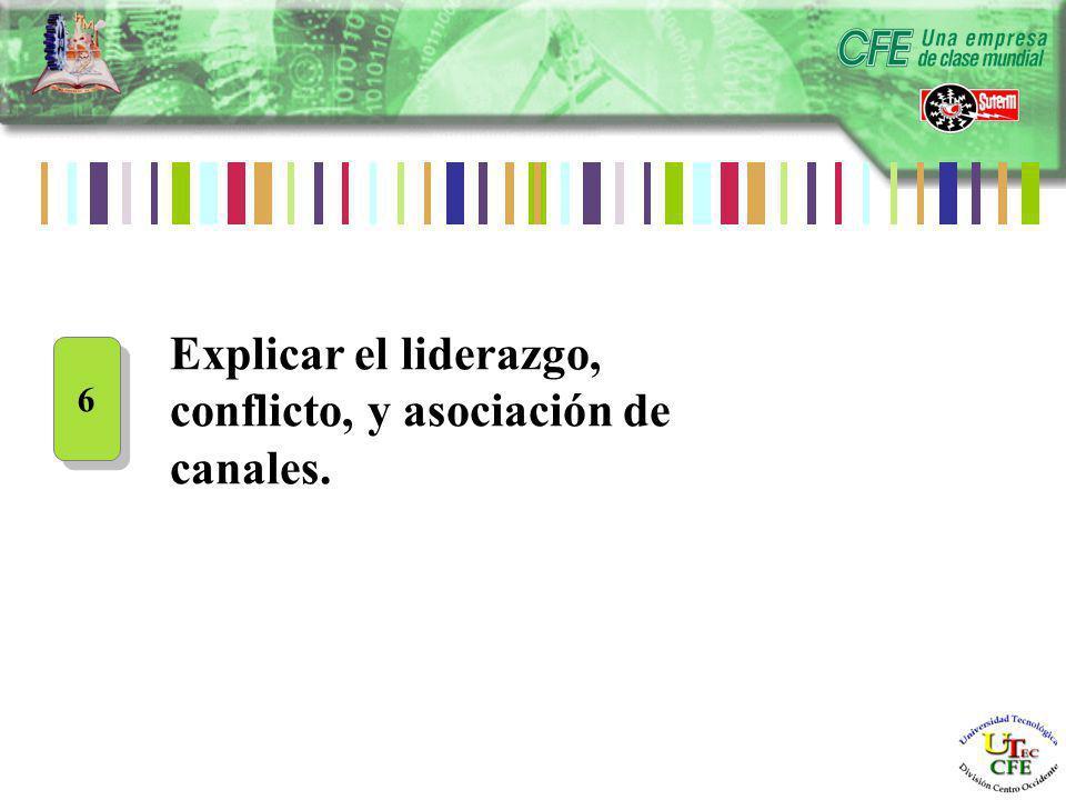 Explicar el liderazgo, conflicto, y asociación de canales. 6 6
