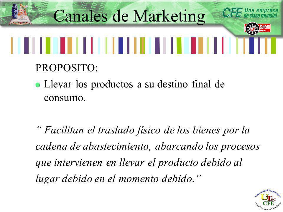 PROPOSITO: Llevar los productos a su destino final de consumo.