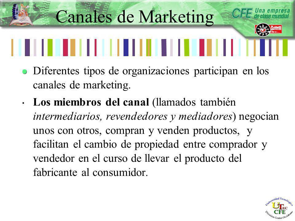 Diferentes tipos de organizaciones participan en los canales de marketing.
