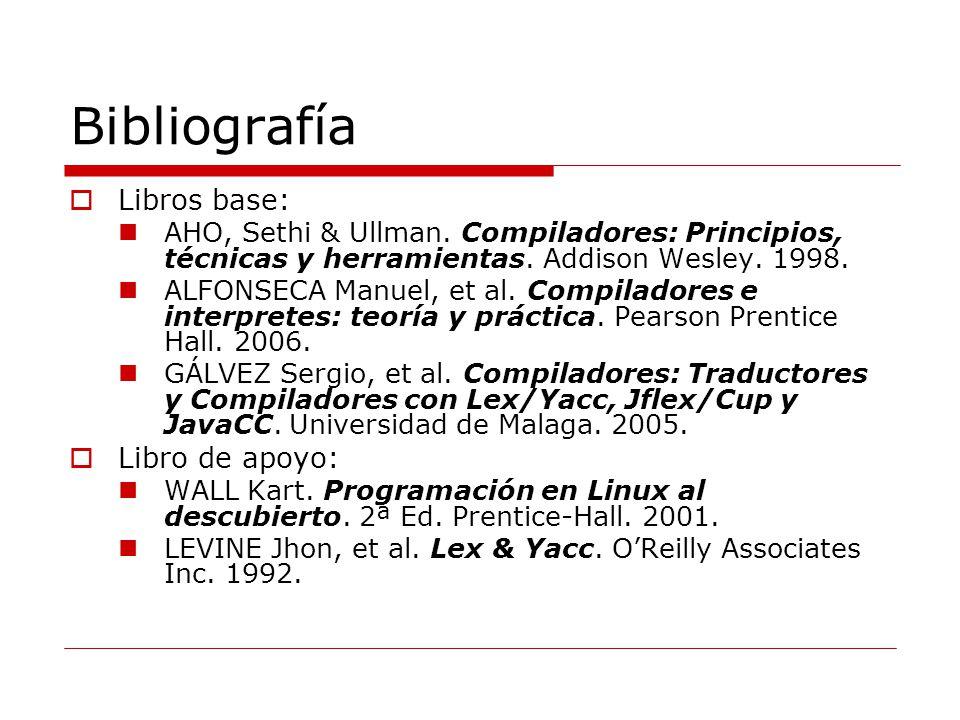 Bibliografía Libros base: AHO, Sethi & Ullman.Compiladores: Principios, técnicas y herramientas.