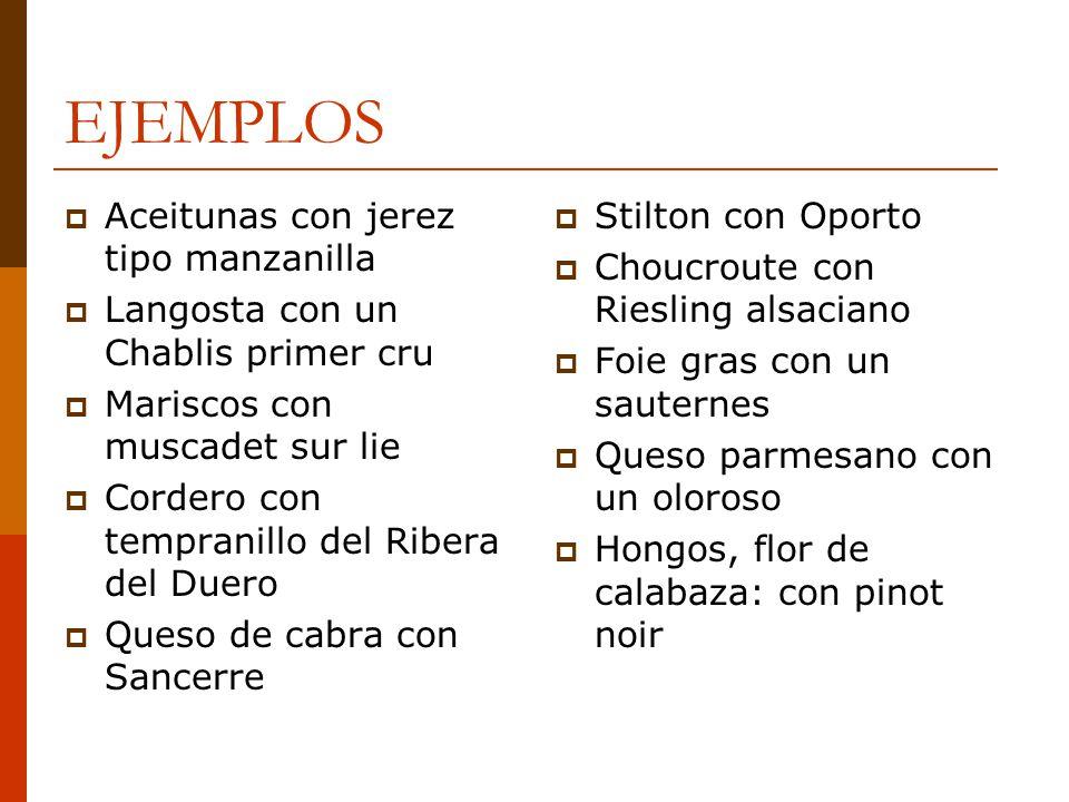 EJEMPLOS Aceitunas con jerez tipo manzanilla Langosta con un Chablis primer cru Mariscos con muscadet sur lie Cordero con tempranillo del Ribera del D