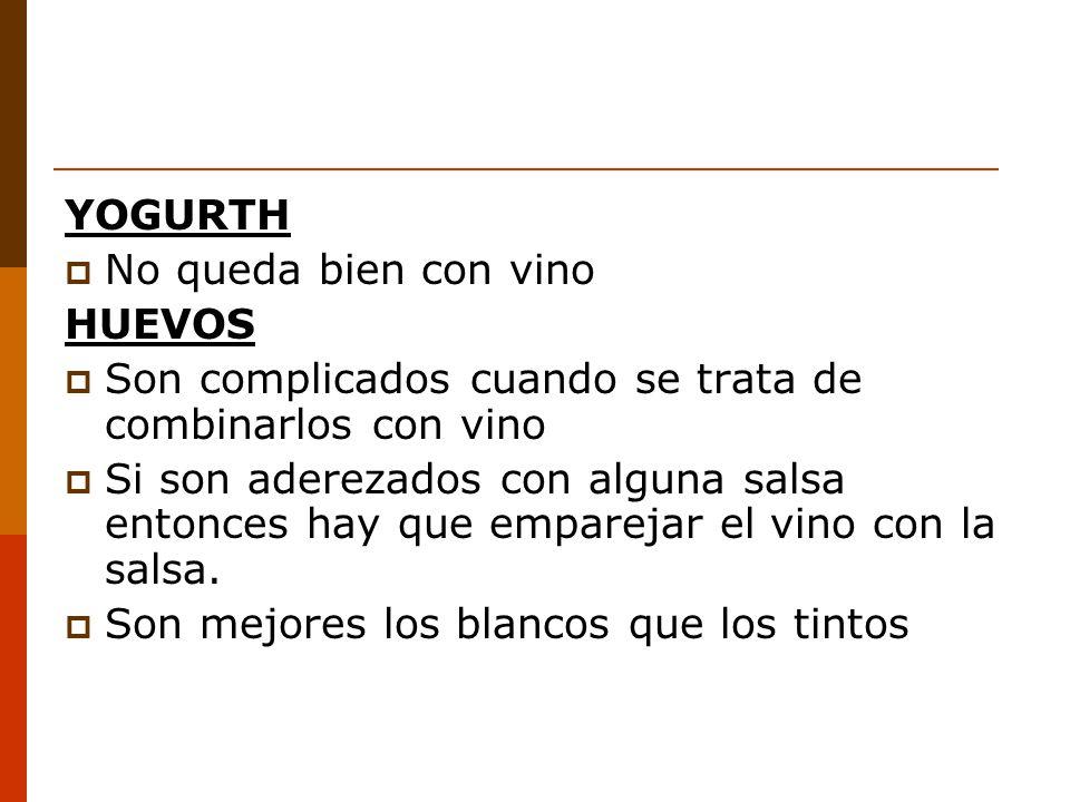 YOGURTH No queda bien con vino HUEVOS Son complicados cuando se trata de combinarlos con vino Si son aderezados con alguna salsa entonces hay que emparejar el vino con la salsa.