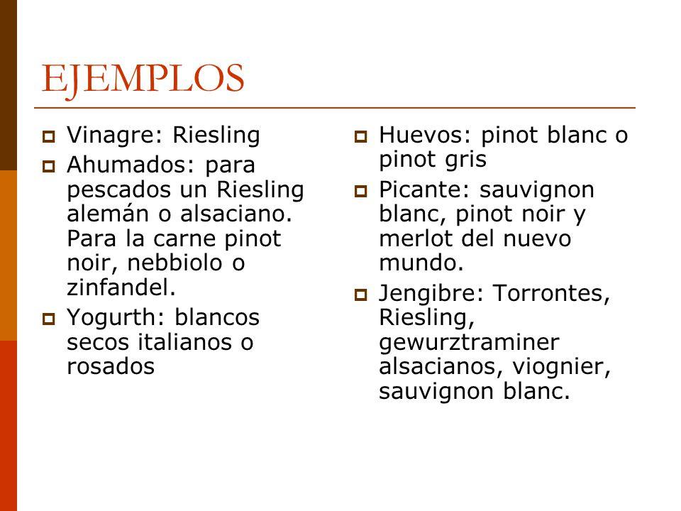 EJEMPLOS Vinagre: Riesling Ahumados: para pescados un Riesling alemán o alsaciano. Para la carne pinot noir, nebbiolo o zinfandel. Yogurth: blancos se