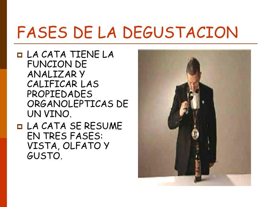 FASES DE LA DEGUSTACION LA CATA TIENE LA FUNCION DE ANALIZAR Y CALIFICAR LAS PROPIEDADES ORGANOLEPTICAS DE UN VINO. LA CATA SE RESUME EN TRES FASES: V