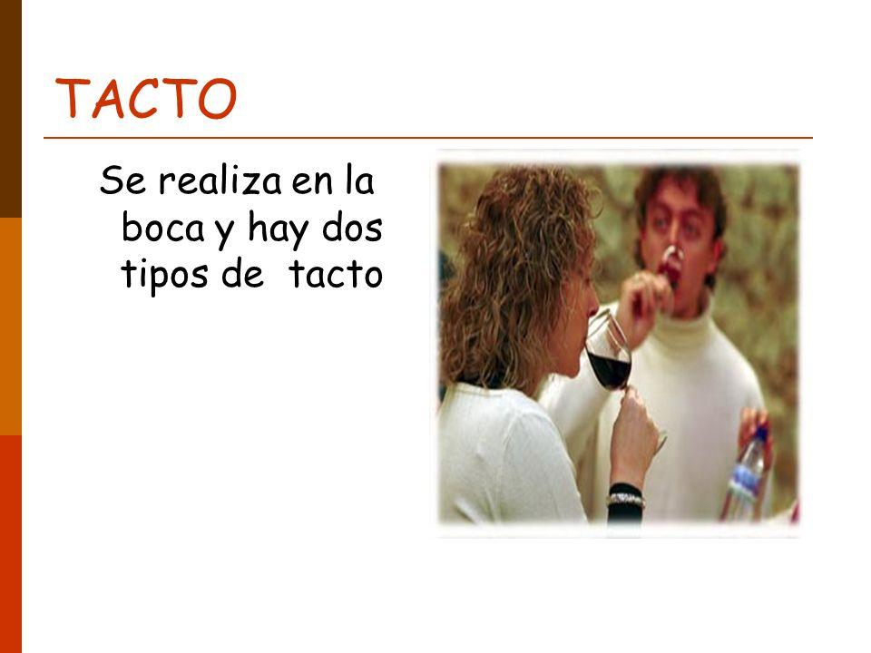 TACTO Se realiza en la boca y hay dos tipos de tacto