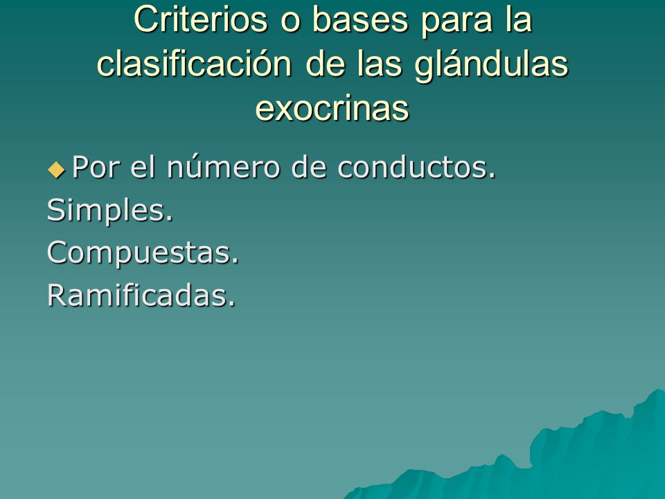 Criterios o bases para la clasificación de las glándulas exocrinas Por el número de conductos. Por el número de conductos.Simples.Compuestas.Ramificad