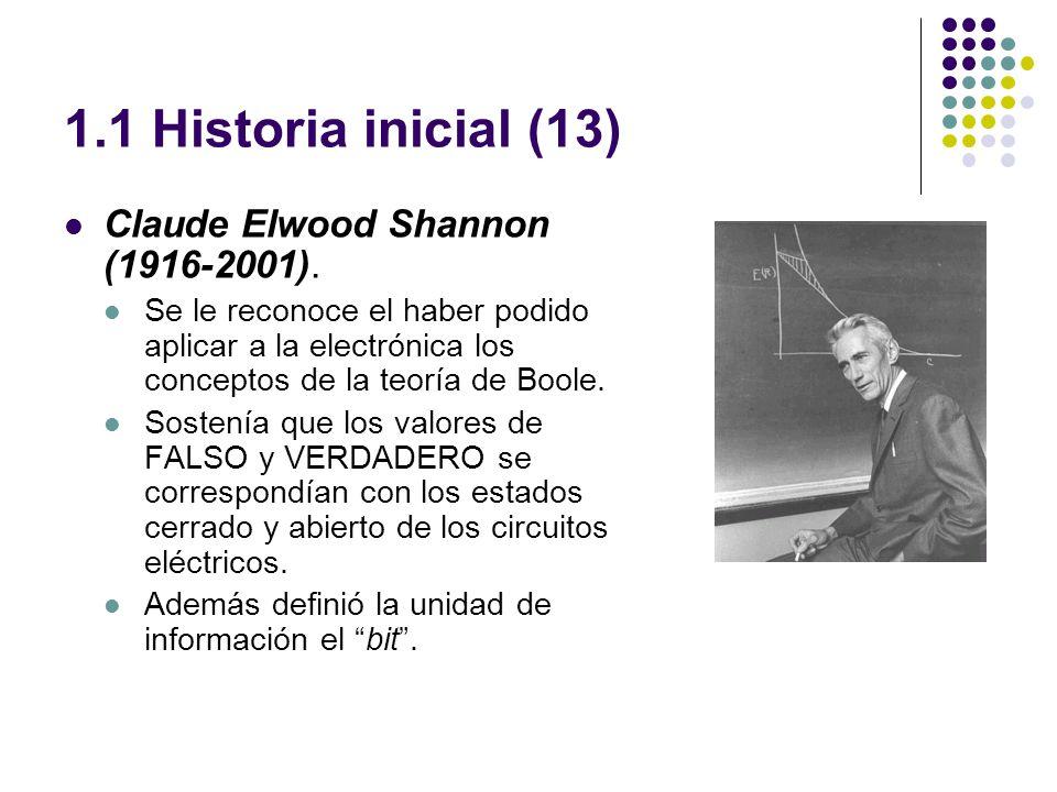 1.1 Historia inicial (13) Claude Elwood Shannon (1916-2001). Se le reconoce el haber podido aplicar a la electrónica los conceptos de la teoría de Boo