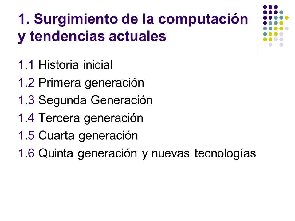 1. Surgimiento de la computación y tendencias actuales 1.1 Historia inicial 1.2 Primera generación 1.3 Segunda Generación 1.4 Tercera generación 1.5 C
