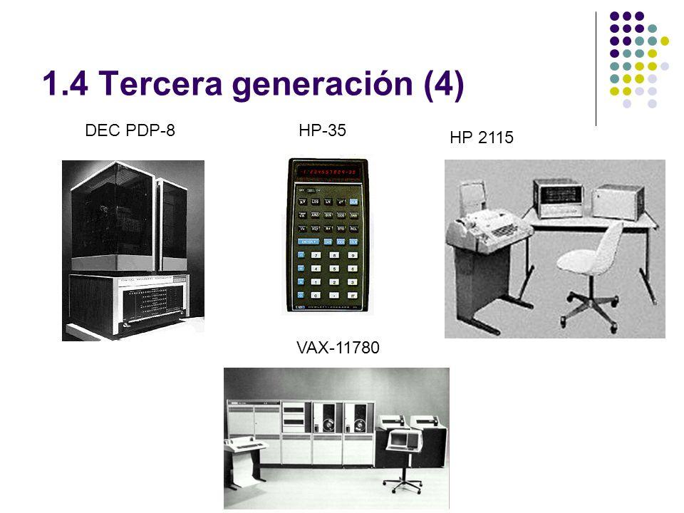 1.4 Tercera generación (4) DEC PDP-8HP-35 HP 2115 VAX-11780