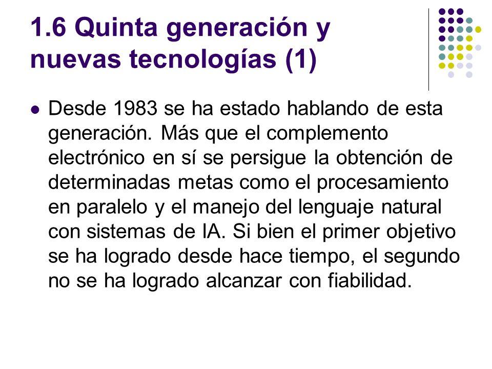 1.6 Quinta generación y nuevas tecnologías (1) Desde 1983 se ha estado hablando de esta generación. Más que el complemento electrónico en sí se persig