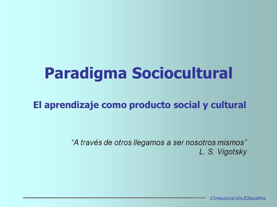 Paradigma Sociocultural El aprendizaje como producto social y cultural A través de otros llegamos a ser nosotros mismos L.