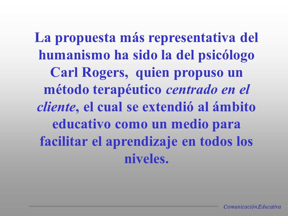 La propuesta más representativa del humanismo ha sido la del psicólogo Carl Rogers, quien propuso un método terapéutico centrado en el cliente, el cua