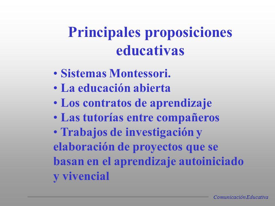 Sistemas Montessori. La educación abierta Los contratos de aprendizaje Las tutorías entre compañeros Trabajos de investigación y elaboración de proyec