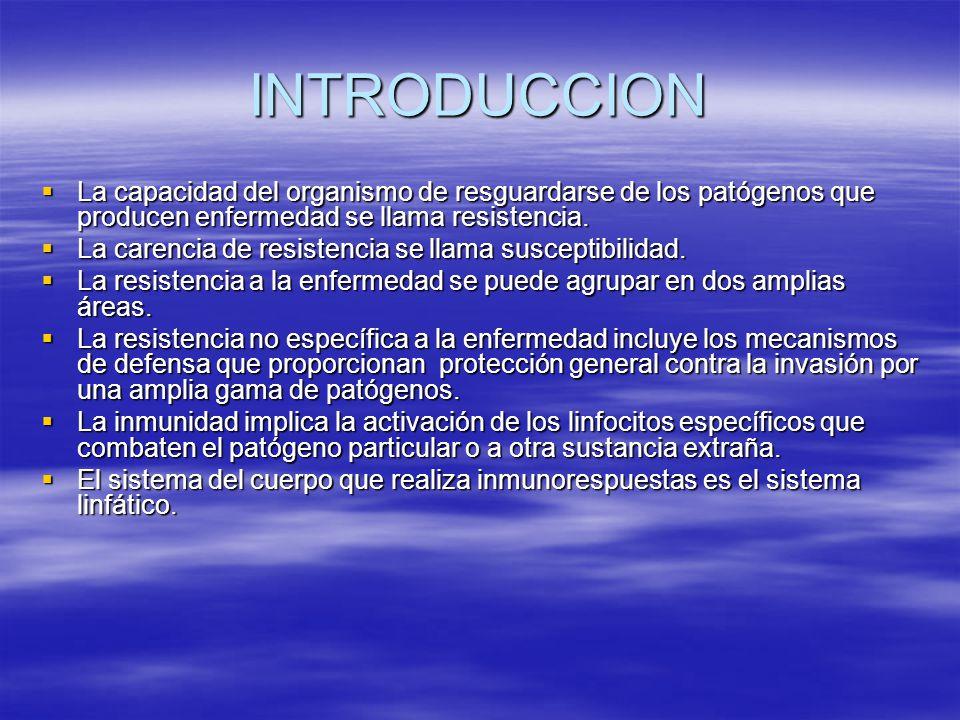 Capítulo 22 El Sistema Linfático La resistencia es la capacidad de resguardar al organismo de enfermedad.
