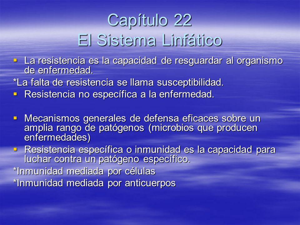 Capítulo 22 El Sistema Linfático La resistencia es la capacidad de resguardar al organismo de enfermedad. La resistencia es la capacidad de resguardar