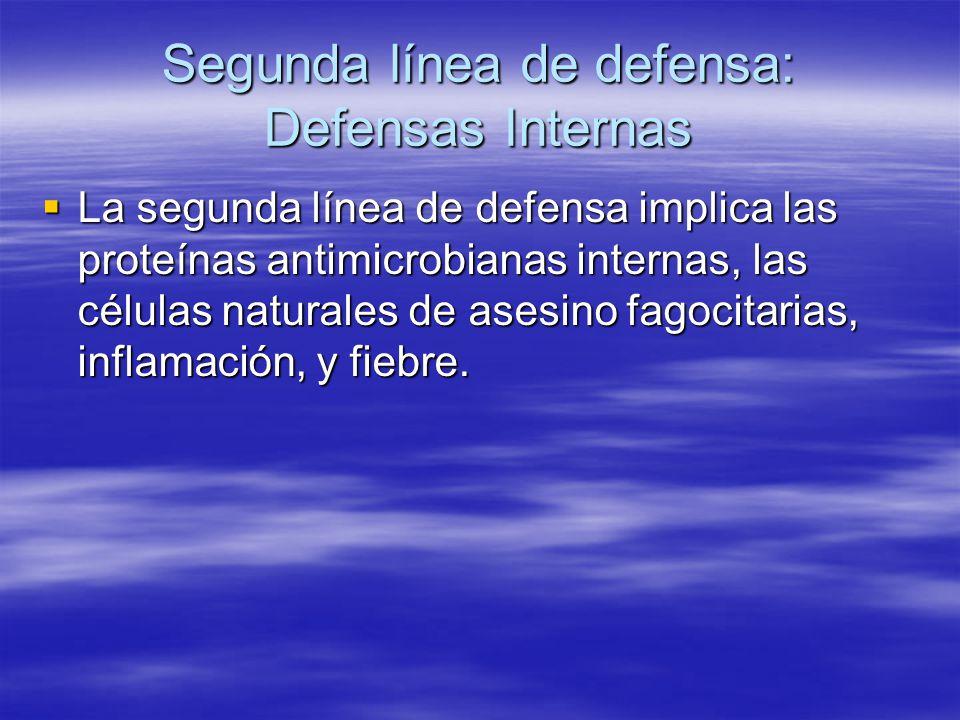Segunda línea de defensa: Defensas Internas La segunda línea de defensa implica las proteínas antimicrobianas internas, las células naturales de asesi