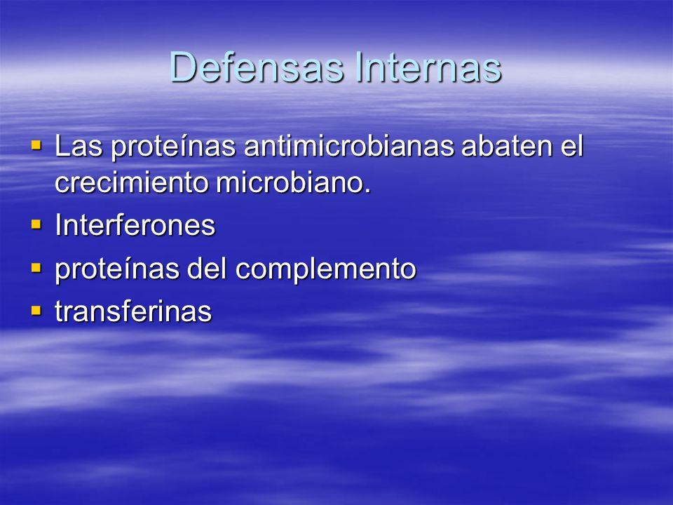 Defensas Internas Las proteínas antimicrobianas abaten el crecimiento microbiano. Las proteínas antimicrobianas abaten el crecimiento microbiano. Inte