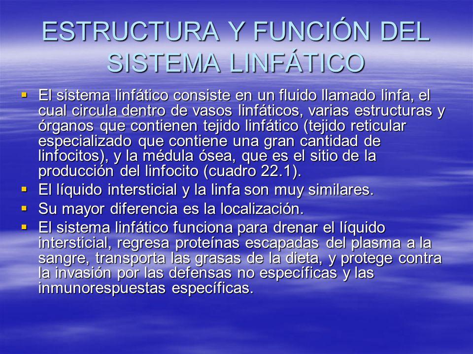 ESTRUCTURA Y FUNCIÓN DEL SISTEMA LINFÁTICO El sistema linfático consiste en un fluido llamado linfa, el cual circula dentro de vasos linfáticos, varia