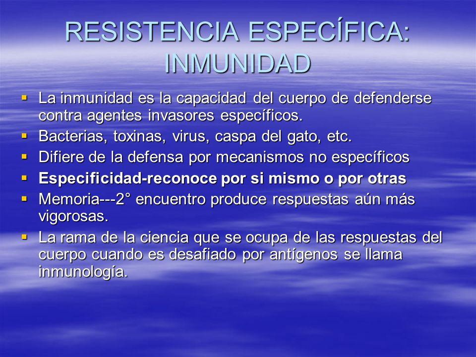 RESISTENCIA ESPECÍFICA: INMUNIDAD La inmunidad es la capacidad del cuerpo de defenderse contra agentes invasores específicos. La inmunidad es la capac