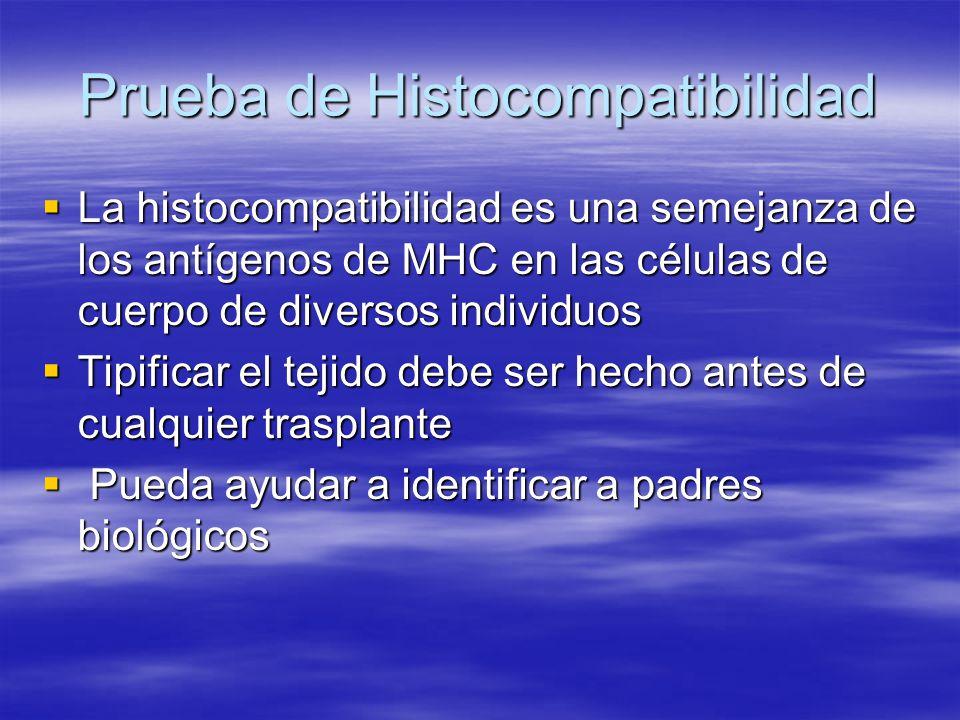 Prueba de Histocompatibilidad La histocompatibilidad es una semejanza de los antígenos de MHC en las células de cuerpo de diversos individuos La histo