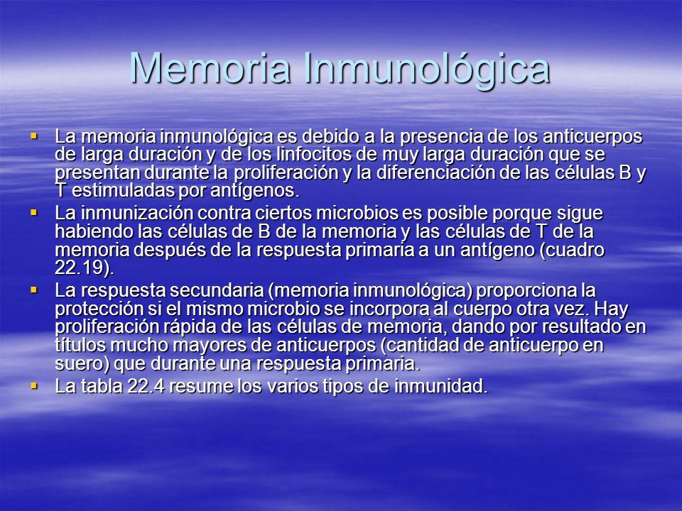 Memoria Inmunológica La memoria inmunológica es debido a la presencia de los anticuerpos de larga duración y de los linfocitos de muy larga duración q