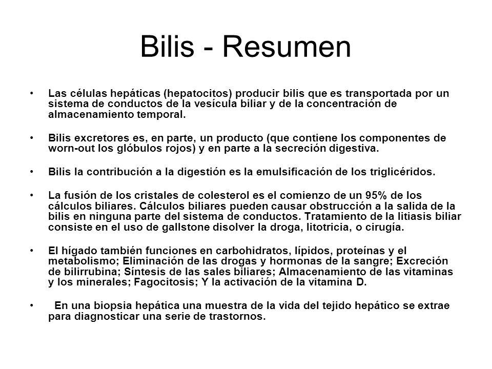 Bilis - Resumen Las células hepáticas (hepatocitos) producir bilis que es transportada por un sistema de conductos de la vesícula biliar y de la concentración de almacenamiento temporal.
