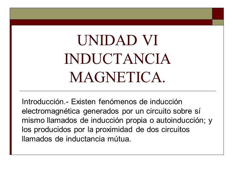 UNIDAD VI INDUCTANCIA MAGNETICA. Introducción.- Existen fenómenos de inducción electromagnética generados por un circuito sobre sí mismo llamados de i