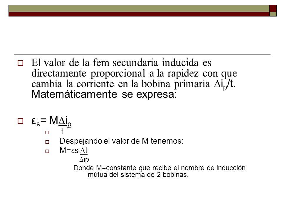 El valor de la fem secundaria inducida es directamente proporcional a la rapidez con que cambia la corriente en la bobina primaria i p /t. Matemáticam